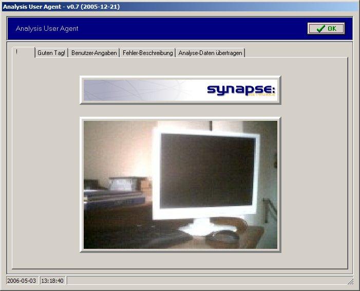 Analysis User Agent (AUA) / Hello Screen
