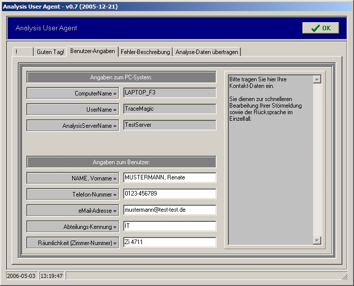 Analysis User Agent (AUA) / Benutzer-Angaben